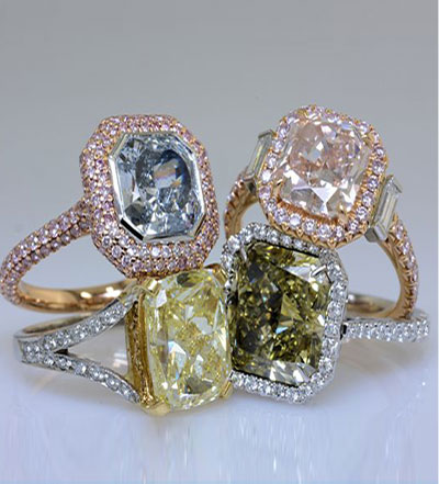 Four Fancy Colored Diamond Rings